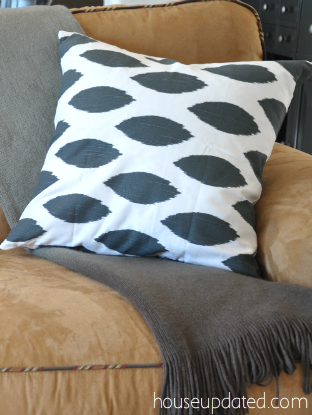 charcoal ikat pillow