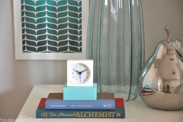 ikea white clock nightstand styling