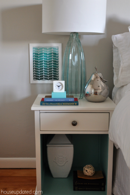 turquoise and white nightstand styling
