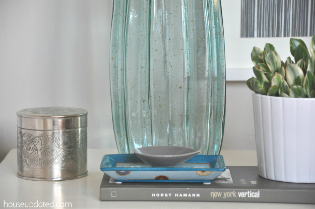blue green glass lamp