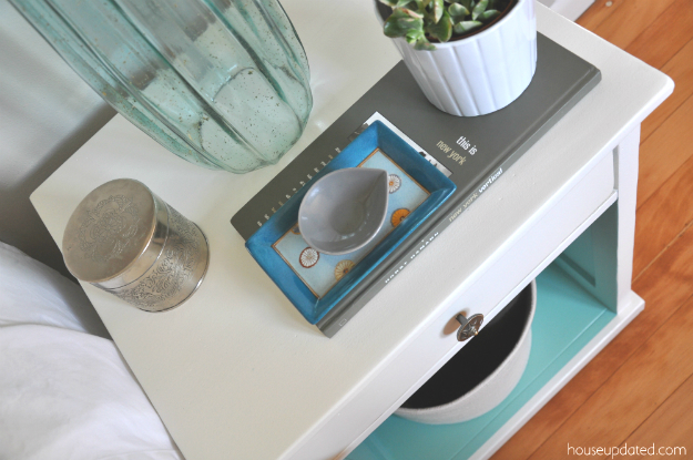 gray white turquoise nightstand styling