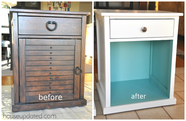 Guest Bedroom:  White and Turquoise Nightstand Makeover