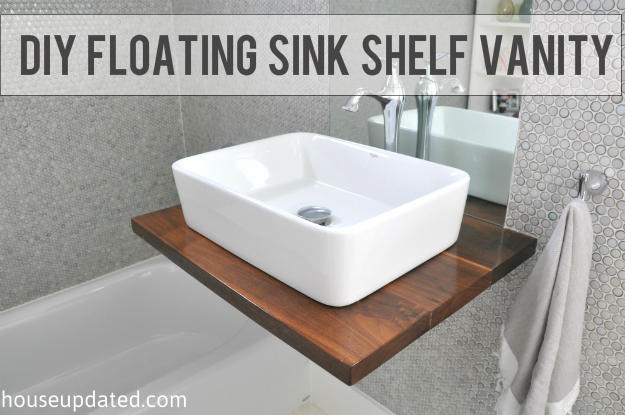 DIY Walnut Floating Shelf Sink Vanity - House Updated