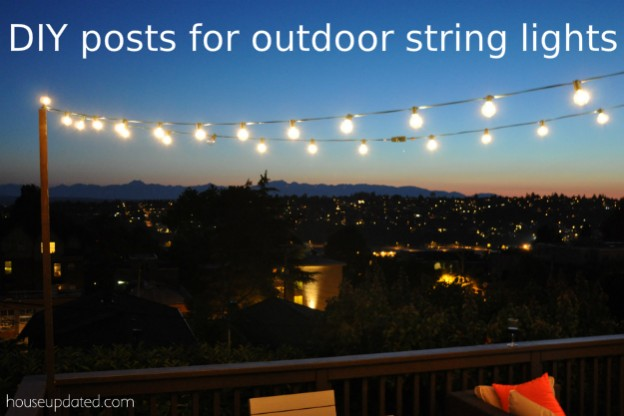 DIY Posts for Hanging Outdoor String Lights on Your Deck