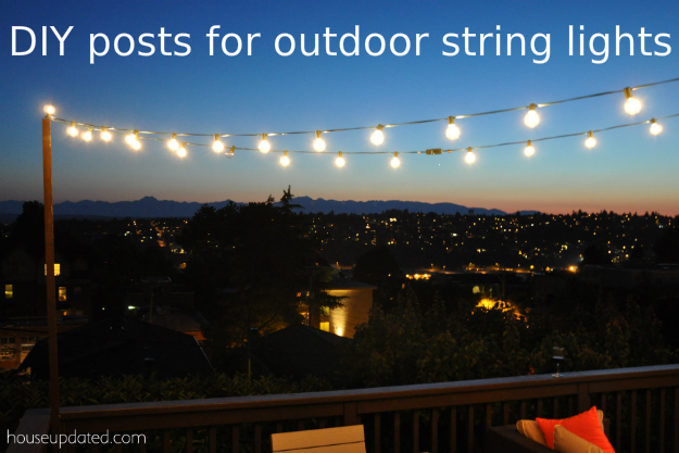 Diy posts for hanging outdoor string lights house updated for How to hang string lights without trees