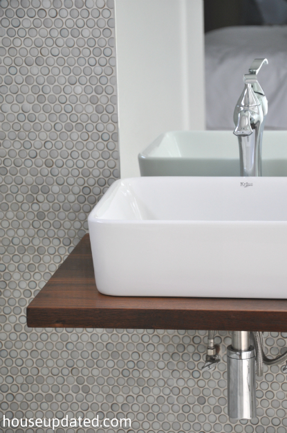 ... Kraus vessel sink faucet floating shelf vanity gray penny tile modern  bathroom ...