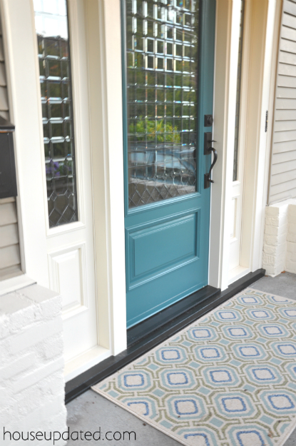 geometric blue green outdoor rug
