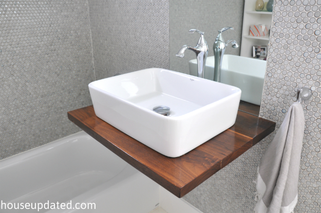 floating vessel sink shelf vanity gray penny tile