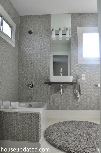 gray and white bathroom tile wood