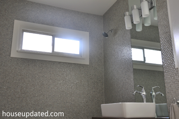 gray penny tile bathroom walls