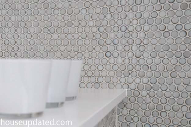 gray penny tile bathroom