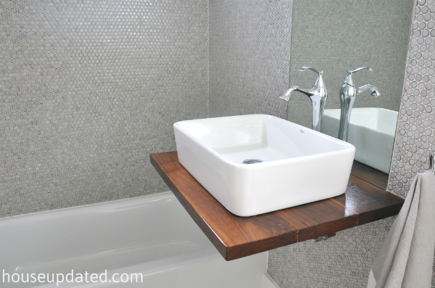 gray penny tile vessel sink walnut Kraus