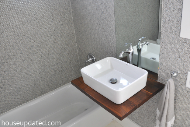 gray white bathroom vessel sink penny wall tile