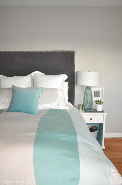 aqua teal turquoise gray white bedroom