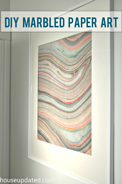 Guest Bathroom Art:  Framed Marbled Paper