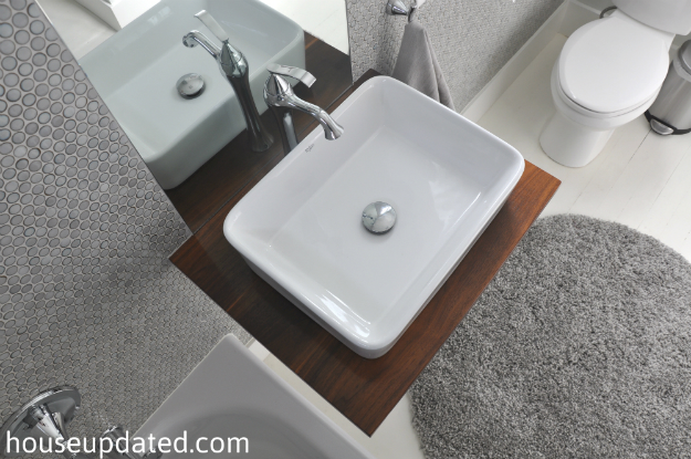modern bathroom vessel sink gray white bathroom