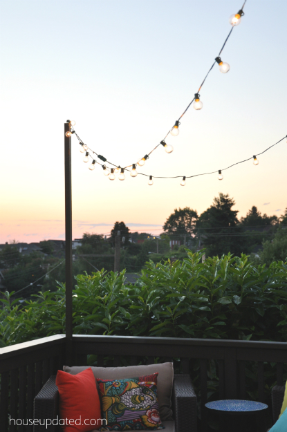 anyone else whip up some posts to hang outdoor string lights over your. Black Bedroom Furniture Sets. Home Design Ideas