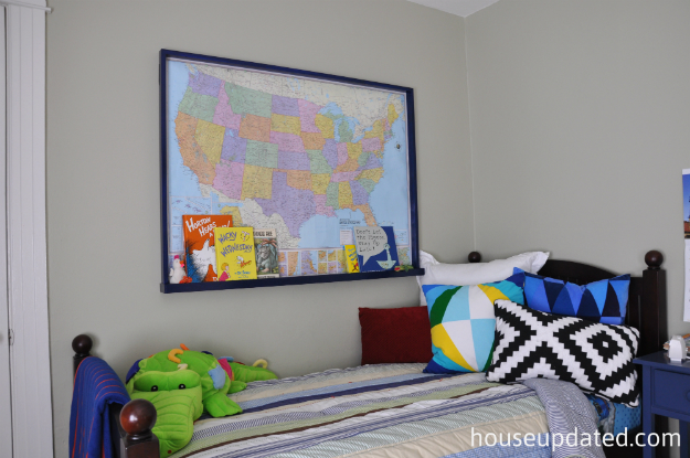 big kid boy room framed wall map