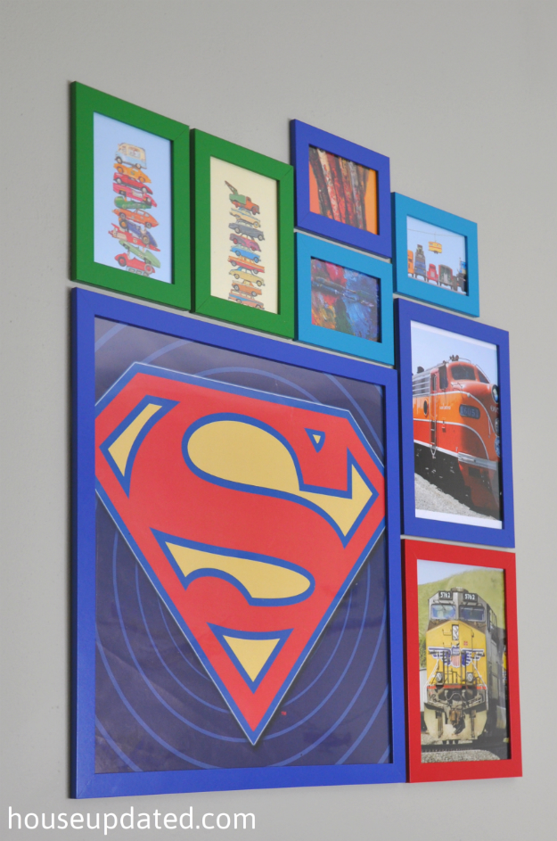 boy room gallery wall plus superman art