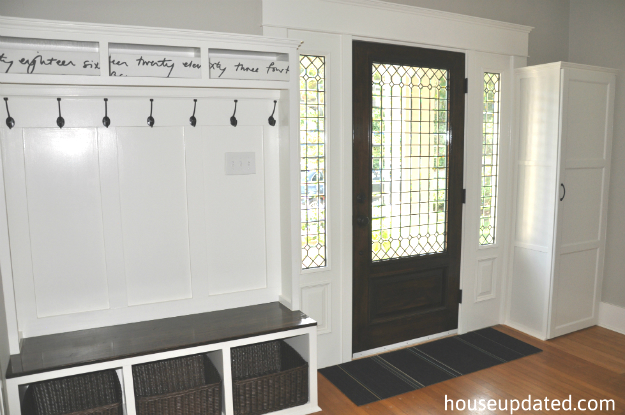 built-in entry storage bench hooks baskets cabinet