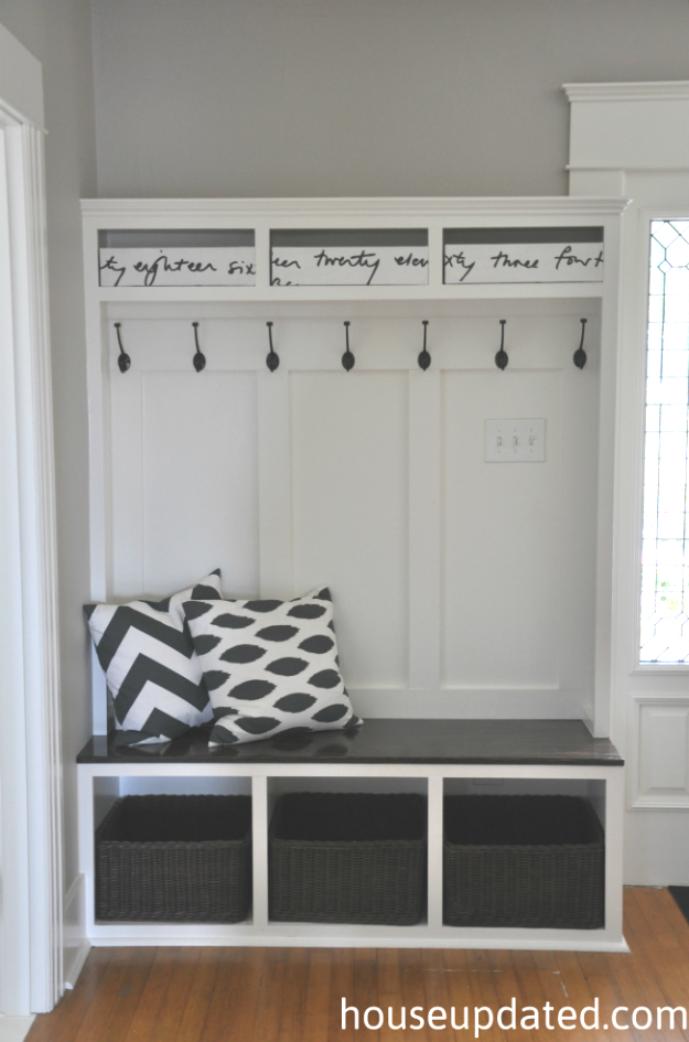 Entryway storage bench coat rack plans woodguides Mudroom bench and hooks