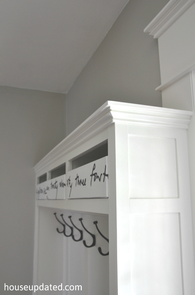 entry storage baskets bins hooks