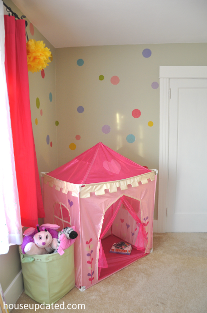 Updated hot pink and green girl 39 s room house updated for Polka dot bedroom designs