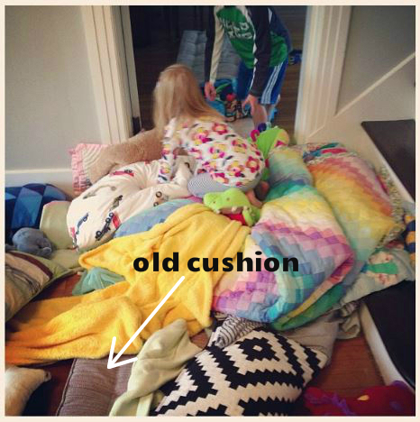old cushion kids playing