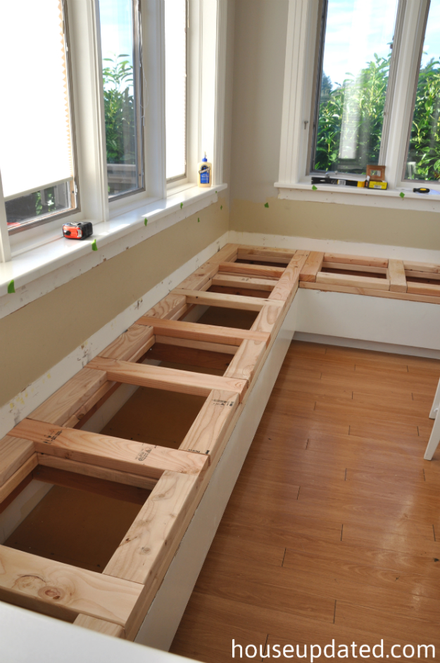 Breaking down and building up the banquette house updated - Building a kitchen bench ...