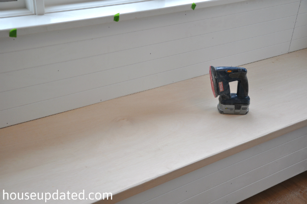 sanding banquette bench