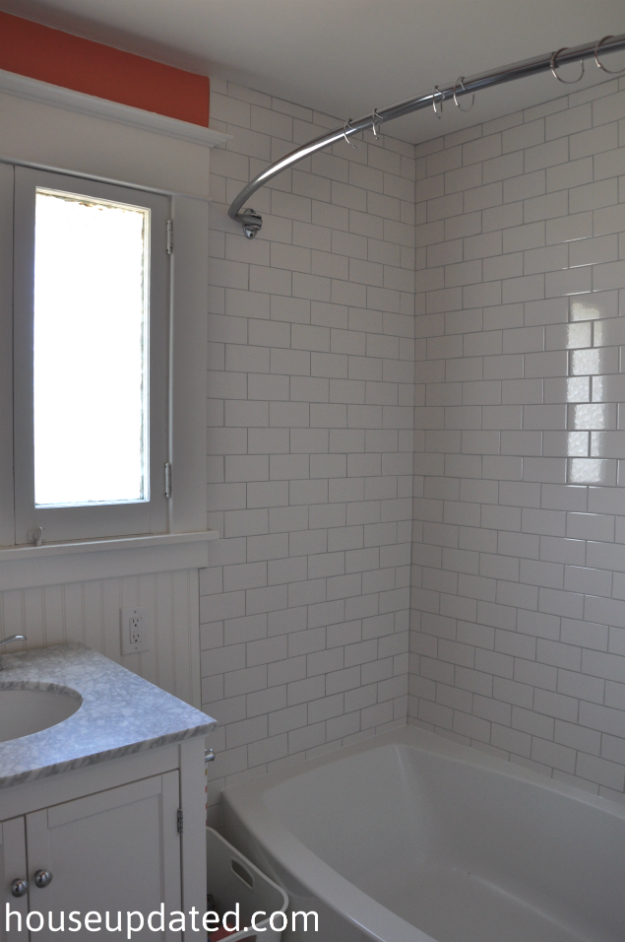 white subway tile coral paint