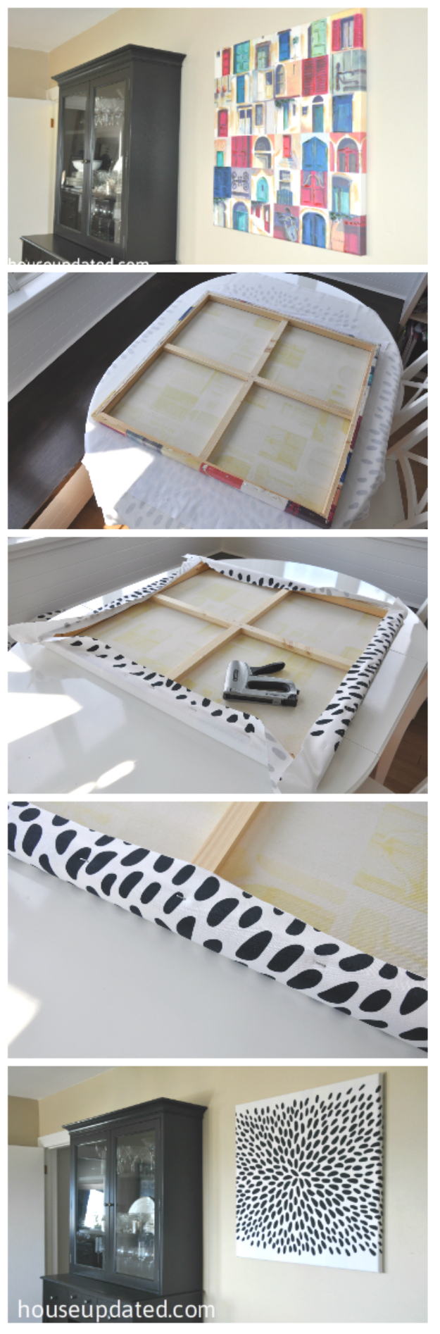 DIY fabric covered canvas art