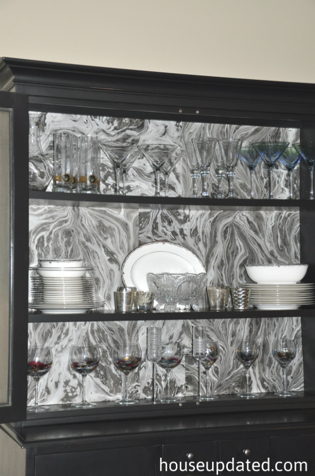 dining room hutch marbled paper