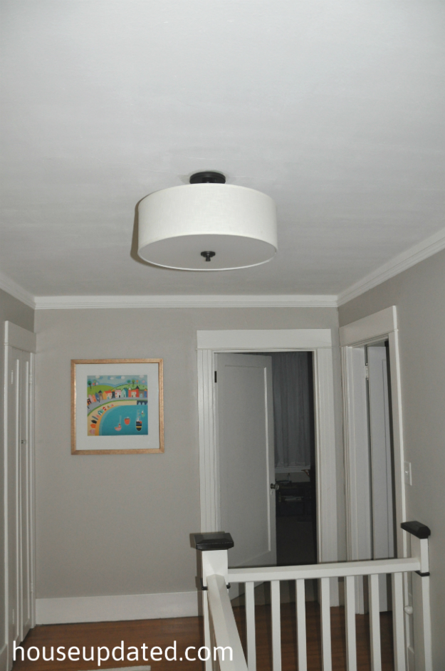 Brightening up the hallway house updated drum ceiling light aloadofball Choice Image