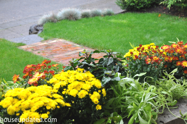 front porch view of fall planter box