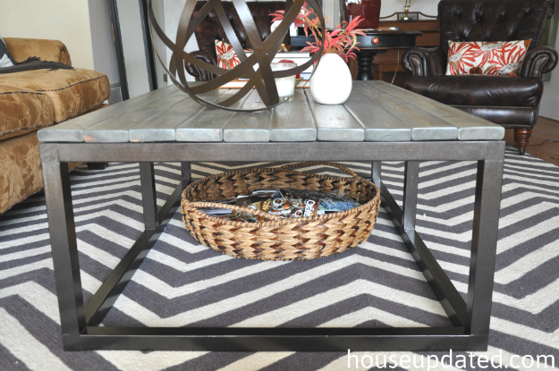 DIY industrial coffee table DIY coffee table restoration hardware knock-off  side-view