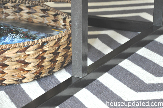 faux metal base coffee table