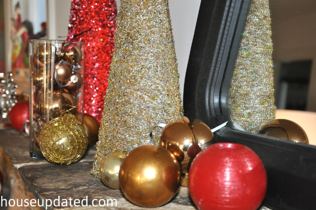 gold holiday mantel