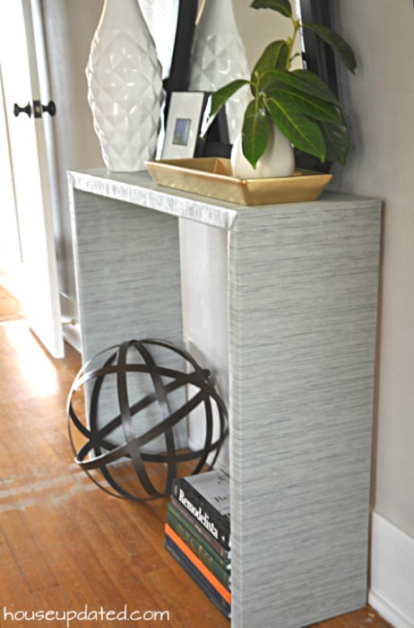 fabric covered console table