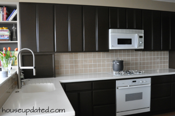 Dark Cabinets White Counters