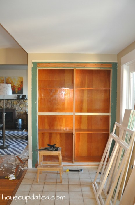 demolition of built-in cabinetry
