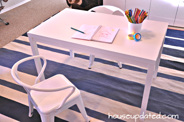 DIY ikea hack art table with kid chairs
