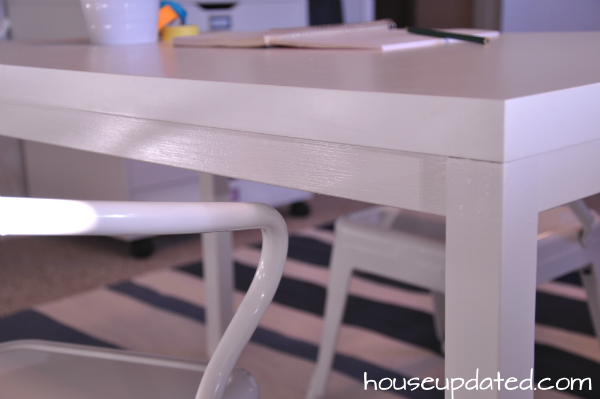 DIY kids art table close-up
