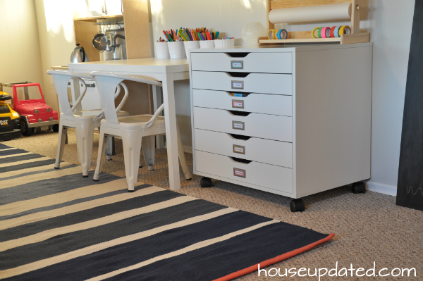 arts and crafts drawers with kid play table