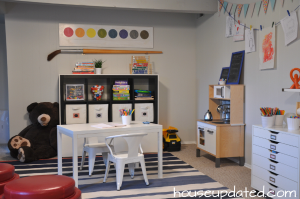 bright modern kid playroom basement