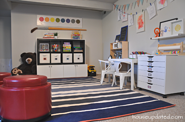 kids' playroom in basement