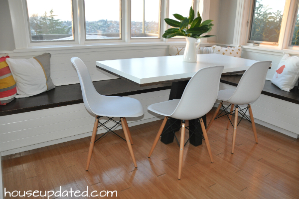 white table banquette breakfast nook