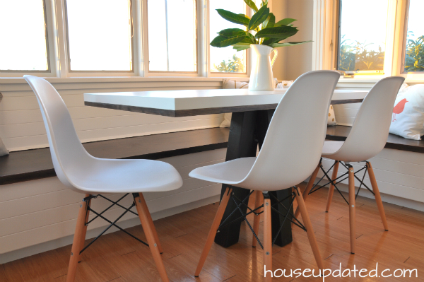 white table eames chairs