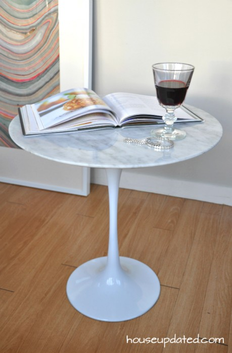 Delicieux Top View Marble Tulip Table Mid Century Marble Side Table