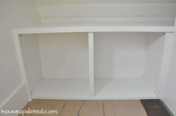 trimmed storage shelving units